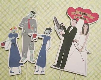 Zombie Wedding Cake Toppers Custom Bride and Groom