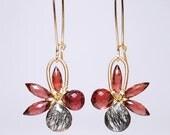 January birthstone earrings, faceted garnet black rutilated quartz 14K gold filled wire wrapped flower earrings grade AA-AAA