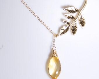 November birthday necklace, November birthstone, citrine,14K gold filled necklace, gemstone, personalized necklacepersonalized jewelry