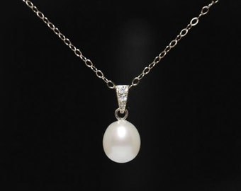Freshwater pearl necklace,  high quality freshwater pearl necklace, sterling silver necklace, everyday necklace, jewelry gift