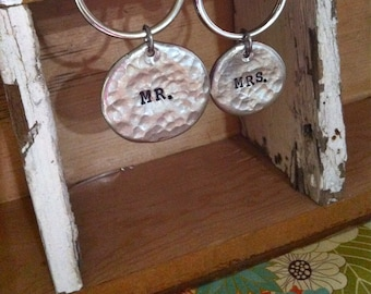 NEW-MR. & MRS. Hand Stamped Keychain Set.