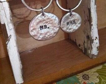 NEW-MR. & MRS. Hand Stamped Keychain Set.
