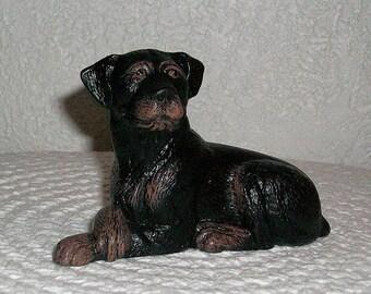 Ceramic Rottweiler Dog Miniature handpainted