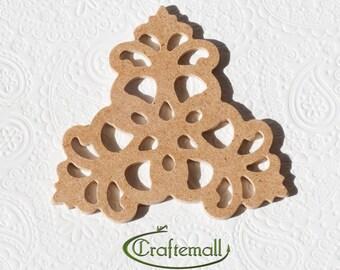 Unfinished wood ornament - filigree triangle wood cutout A28