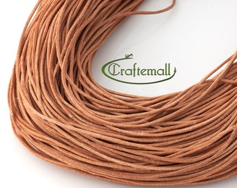 Tan leather cord - round 1mm leather cord - genuine leather cord - 5 meters WL-H005-1