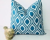 "TURQUOISE Pillow ONE 20"" Modern Nicole decorator pillow COVER 20 inches Deep Teal Throw Pillow Feather Ikat"