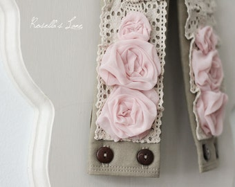 dslr camera strap cover - pink rosette - lace camera strap cover