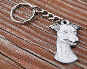 Italian Greyhound Dog pewter Pendant Charm and Keychain Whippet