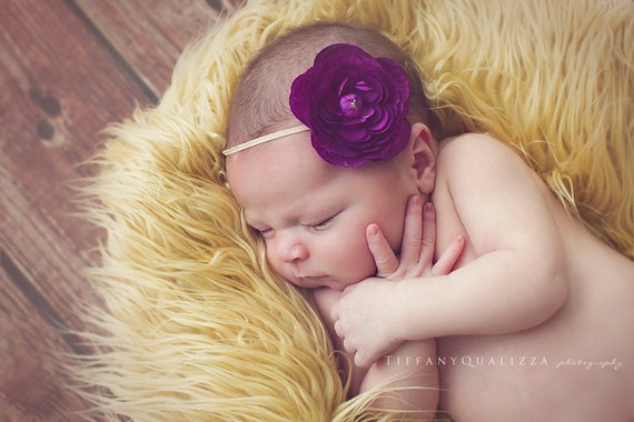 Purple Ranunculus Flower Headband