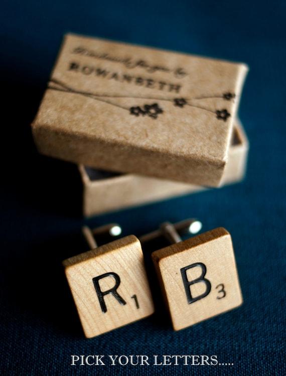 Wooden Scrabble Tile Letter Initials Custom Cufflinks - CHOOSE