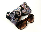 Eyeglass Case, Sun glass Case, Sunglass Case, Zippered Eye Case - Black Purple Orange Paisley