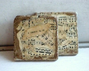 Classical Music Coasters,  Custom - made to order - re purposed tiles, vintage sheet music, set of two, 4 x 4 inches