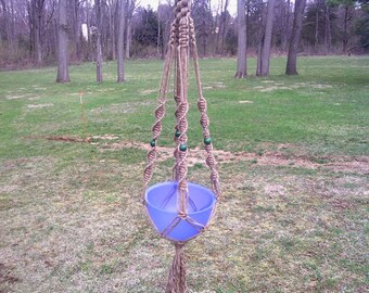 Crown Knot Macrame Plant Hanger Green Beads