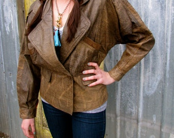 Vintage 1980s Distressed Brown LEATHER BOMBER Motorcycle Jacket with Batwings