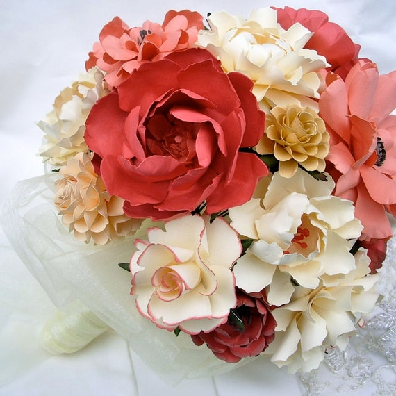 Items Similar To Handmade Paper Flower Wedding Bouquet