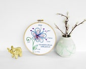 "Botany Study: Hennesseflorium Swirlanicus. Embroidered Botanical Flowering Plant Diagram, Colorful Nature Study in 6"" Hoop"