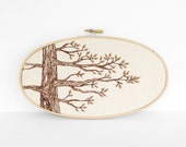 """Autumn Hand Embroidery Tree Art in Brown & Natural Tan. Neutral Botanical Embroidery Hoop Wall Art 5""""x9"""". Embroidered Fiber Art Wall Hanging"""