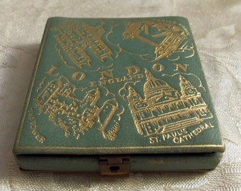 OOAK Antique 30s 40s Leather Compact  London England