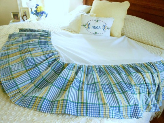 Vintage Waverly Queen Plaid Bed Skirt Dust Ruffle