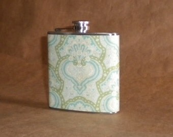 Girl Gift Blue and Green Ornate Damask Print 6 ounce Stainless Steel Bridesmaids Gift Flask KR2D 6326