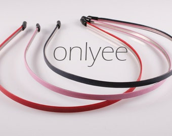 3PCS-4MM High Flex Metal Headband covered with Leather Wrapped and Rubber Tips, Handmade(E211)
