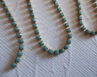 2mm Turquoise Rhinestone Chain - Brass Setting - Preciosa Czech Crystals