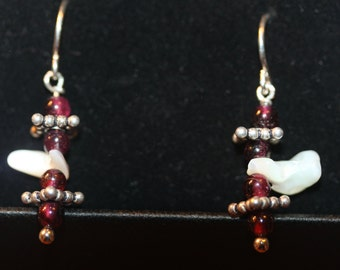 Dangling Garnet, Mother Of Pearl, & Sterling Silver EARRINGS