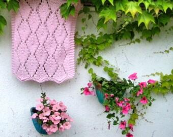 Knit Pink Baby Blanket Baby Girl Blankets Photo prop Basket stuffer Newborn Cradle Blanket basket filler Baby blankets Baptism