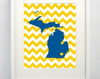 Ann Arbor, Michigan State Giclée Map Art Print  - 8x10 -  Blue and Yellow Map Art - Graduation Gift Idea - Dorm Decor