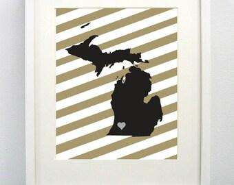 Kalamazoo, Michigan State Giclée Print - 8x10 - Graduation Gift Idea - Dorm Decor