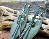 rustic hand wrought copper . earrings . one of a kind