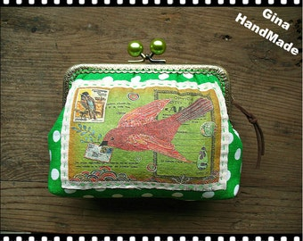 Letter from Bird Postcard Vintage style Red-bead  Metal frame purse/coin purse / Coin Wallet /Pouch / Kiss lock frame bag-GinaHandMade