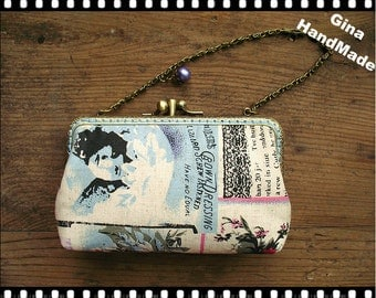 Vintage Photo and Butterfly Two-compartment Coin purse / Coin Wallet / Pouch coin purse / Kiss lock frame purse bag-GinaHandmade