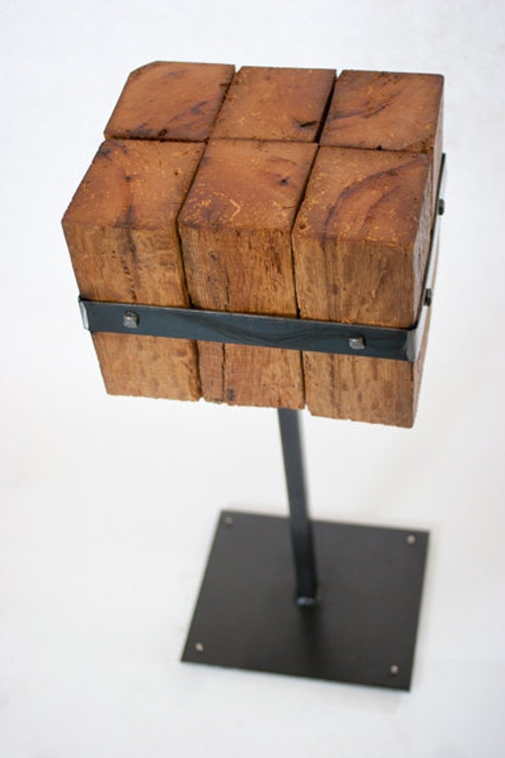 Handmade metal and reclaimed wood beam table, Featured at Shimano. end table, night stand, bar stool, plant stand