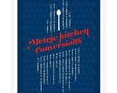 Kitchen Metric Conversions Art Poster,  Typography Poster, Kitchen Art - Kitchen Prints - Blue 13x19