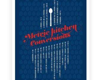 Kitchen Metric Conversions Art Poster,  Typography Poster, Kitchen Art - Kitchen Prints - Blue 13x19
