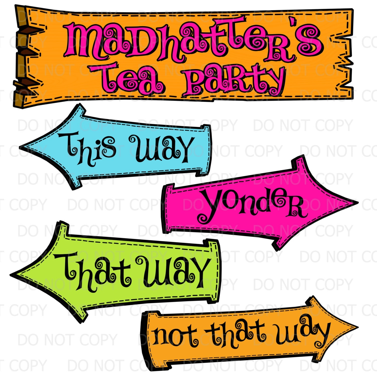 Printable DIY Madhatter's Tea Party Sign and Arrows