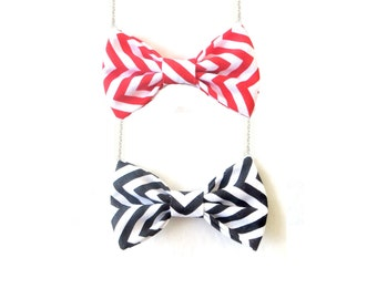 Chevron Pattern Bow Tie Necklace Black or Red