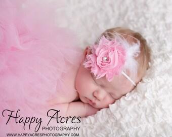 PINK PRINCESS....newborn tutu, baby tutu with vintage headband, newborn photography prop.....pink tutu