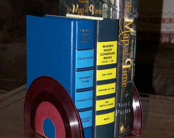 Vinyl Record Bookends - Rare Red Vinyl - 45 Record Bookends - Vintage Records