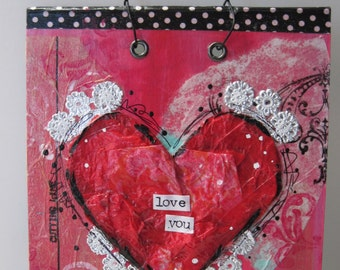 "Valentine: ""Love You"" Repurposed Book Page"