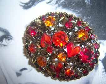 Austria Signed 1950's Red Heart Shaped Art Glass Brooch