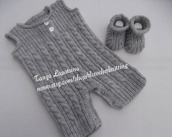 Hand Knit Baby Boy Romper and Booties Set. Grey Baby Boy Overalls. Cabled Long Johns and Booties Set. 0-3M.