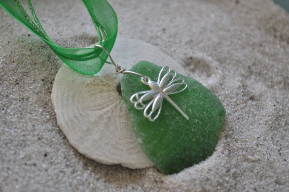 Green Seaglass Necklace with Dragonfly Charm - Seaglass Jewelry - Sterling Silver Dragonfly
