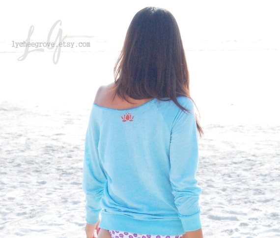 Reserved for Natyelli...Mandarin Lotus Yoga Pullover Top  (Blue) - XS & Small available