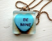 Be Mine Valentines Necklace - Blue Candy Heart - Glass Tile Pendant Necklace - Art Photo