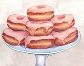 Watercolor Painting Pink Donuts on a Stand - 8x10 Print - Doughnuts Food Illustration