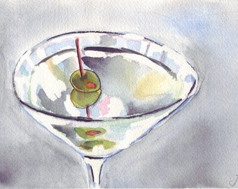 5x7 Martini Watercolor Painting Illustration Martini with Olives Art, 5x7 Print