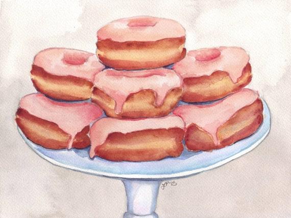 11x14 Print Pink Donut Painting - Watercolor Painting - Doughnuts Food Illustration - 11x14 Print