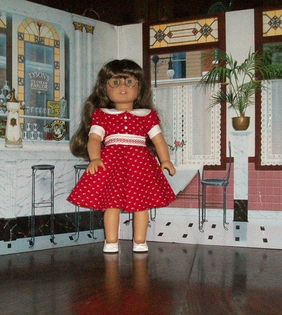 "American Girl Doll 1940s ""Lucy Dress"" in Red with White Hearts & Faux Smocking"